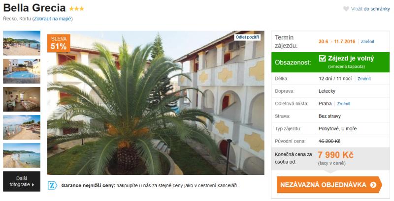 hotel bella grecia řecko korfu