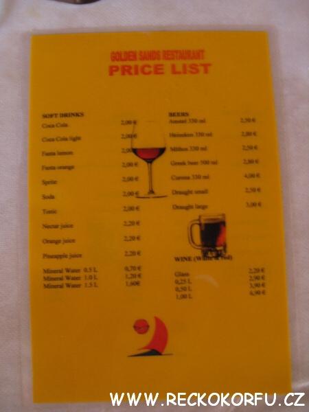 Hotel Golden Sands nápojový lístek – Řecko Korfu