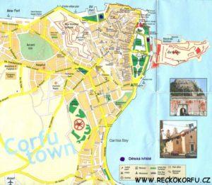 Kerkyra mapa - Řecko Korfu