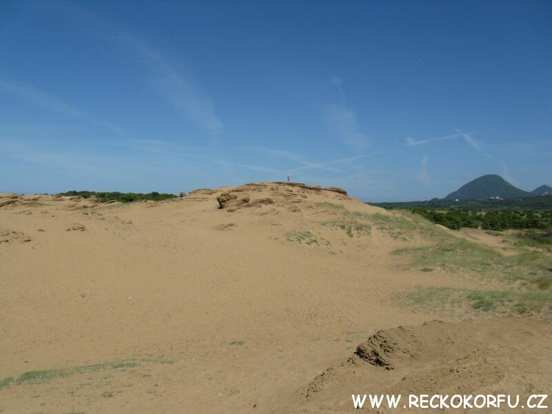 Písečné duny u jezera Korission - Řecko Korfu