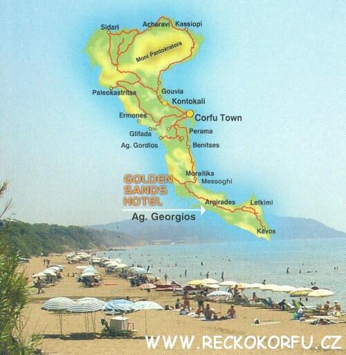 Mapa Korfu Řecko